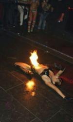 Feuerspuckerin Jeanette für Bielefeld