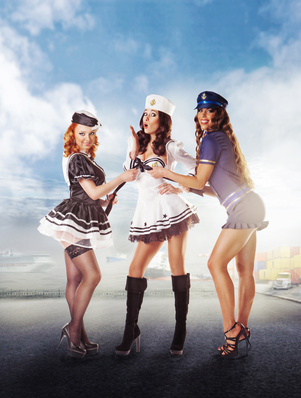 Three sexy sailor women standing in the port